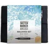 Набор маркеров Sketchmarker BRUSH Maldives set 36шт Мальдивы + сумка органайзер